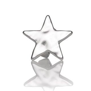Mini-Schiebeperle Metall Stern gehämmert silber