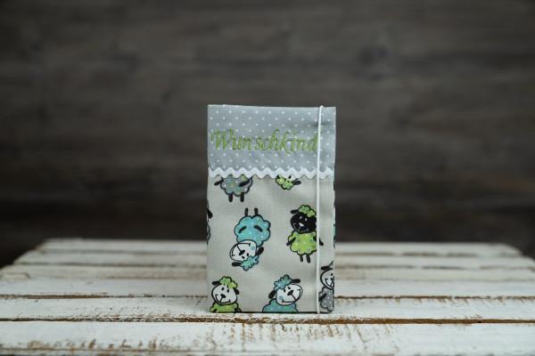Mutter-Kind-Pass Hülle Schafe blau-grün