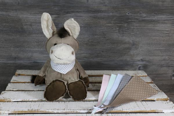 Kuscheltier Esel braun mit besticktem Halstuch