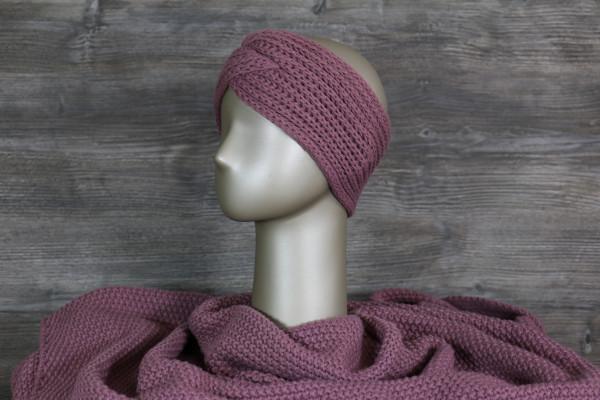Stirnband gestrickt lila