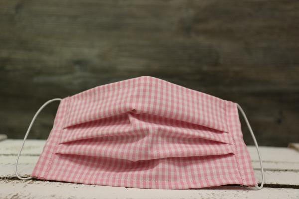 Mund- und Nasenmasken Karo rosa-weiß