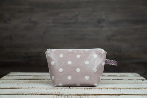Wachstuchtäschchen Punkte rosa-weiß