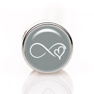 Mini-Schiebeperle Infinity Herz grau-weiß