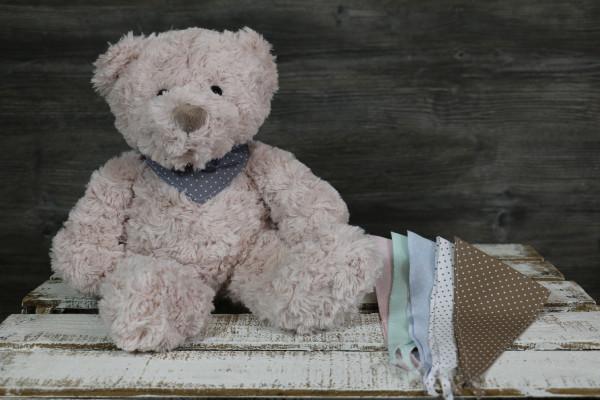 Kuscheltier Bär rosa mit besticktem Halstuch