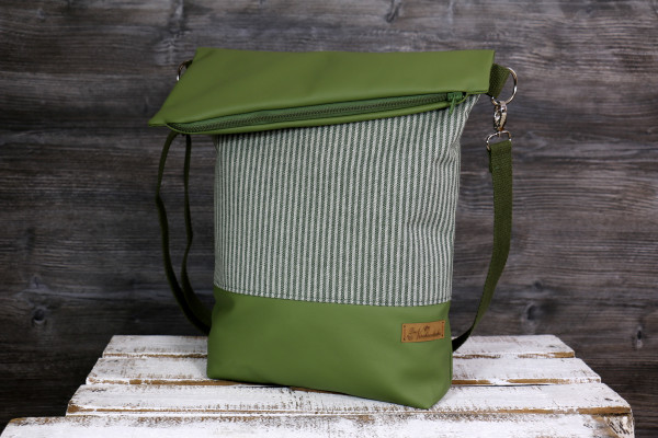 Fold-over-Tasche Stripes green