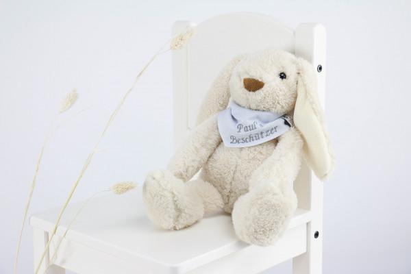 Kuscheltier Hase weiß mit besticktem Halstuch