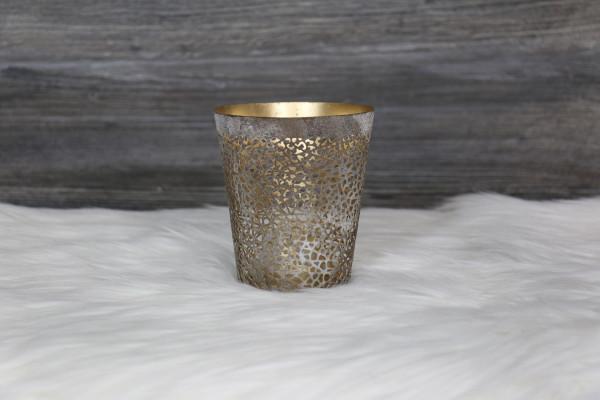 Teelichthalter gold/weiß-grau groß