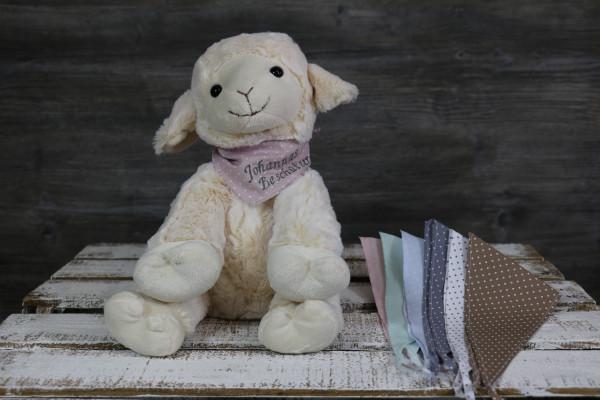 Kuscheltier Schaf weiß mit besticktem Halstuch