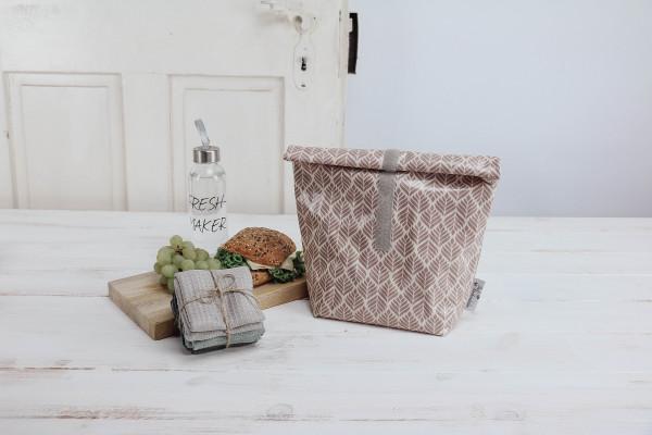 Lunchbag Blätter altrosa