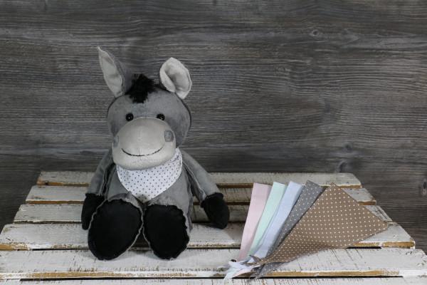 Kuscheltier Esel grau mit besticktem Halstuch