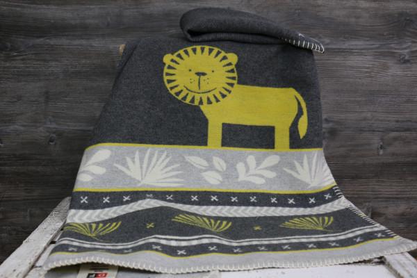 Babydecke Löwe grau-gelb