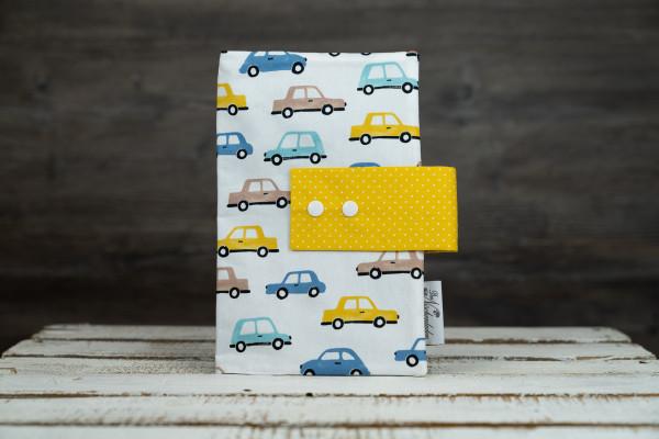 Windeltasche Autos blau-gelb (geschlossen)