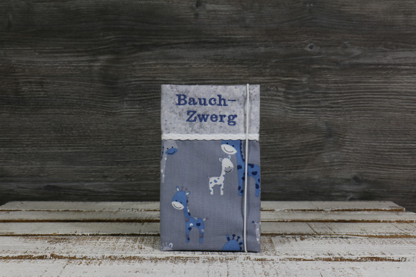 Mutter-Kind-Passhülle Giraffe grau-blau