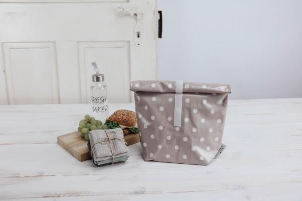 Lunchbag Punkte rosa-weiß