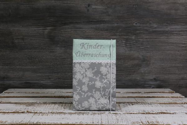 Mutter-Kind-Passhülle Blumenranke grau-mint