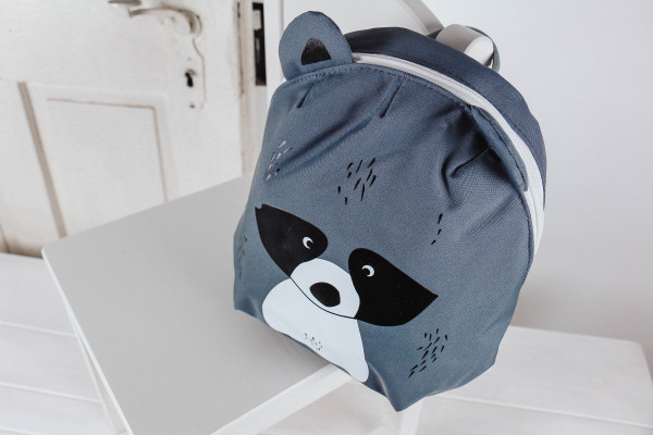 Kinderrucksack Waschbär grau