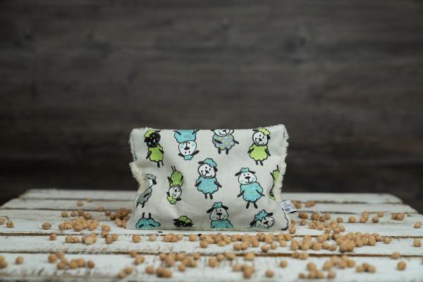 Kirschkernkissen Schafe blau-grün