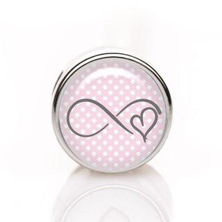 Mini-Schiebeperle Infinity Herz rosa-weiß