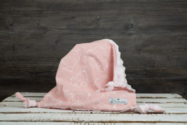 Schmusetuch Elefanten rosa-weiß