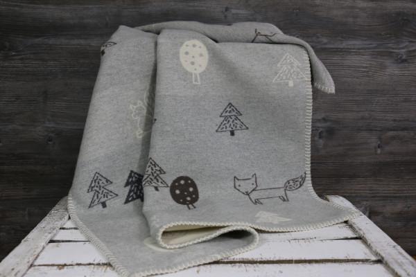 Babydecke Waldtiere grau