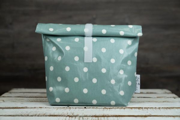 Lunchbag Punkte mint-weiß