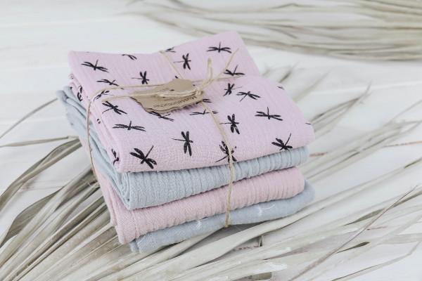 Musselintücher rosa-grau