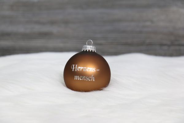 Weihnachtskugel hellbraun personalisiert