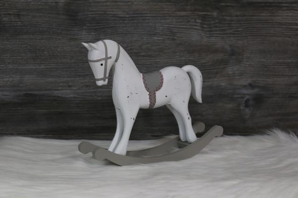 Schaukelpferd weiß/grau