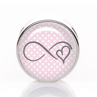 Schiebeperle Infinity Herz rosa-weiß