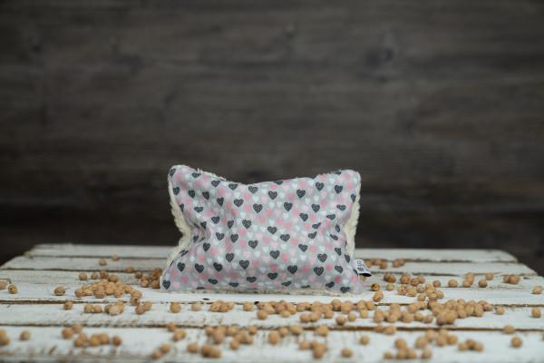Kirschkernkissen Herzen grau-rosa