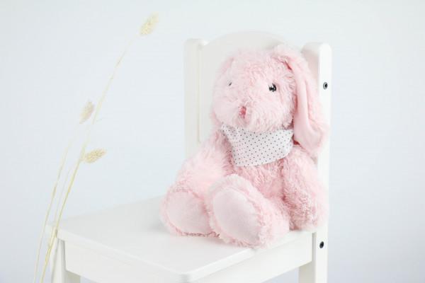 Kuscheltier Hase rosa mit besticktem Halstuch