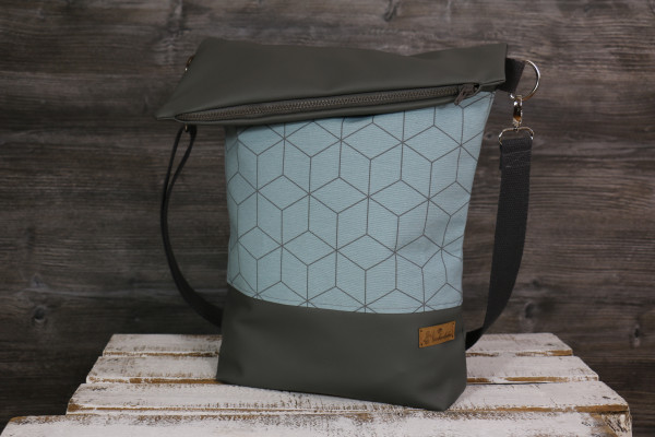 Fold-over-Tasche Geo blau