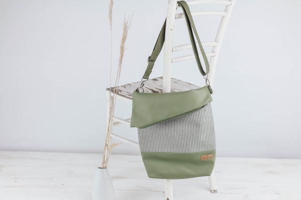 Fold-over- Tasche Stripes green