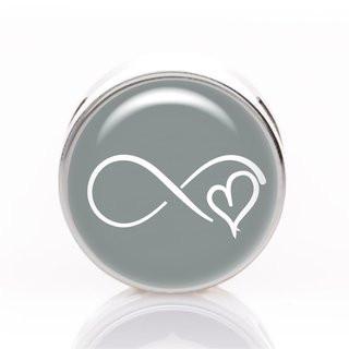 Schiebeperle Infinity Herz grau-weiß