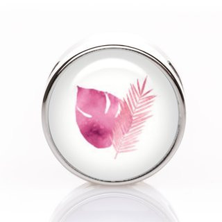 Schiebeperle Blatt Feder pink