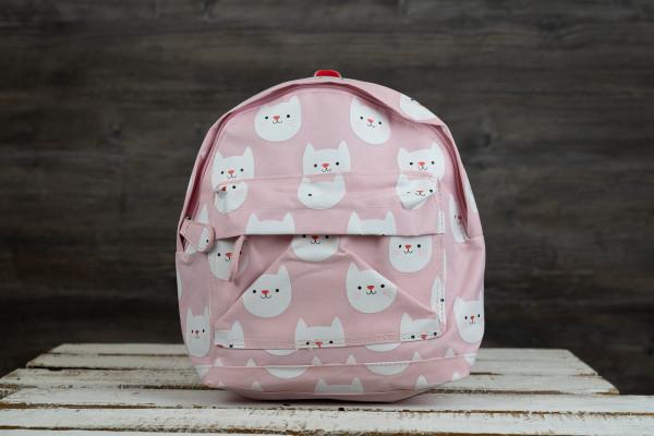 Kinderrucksack Katzen rosa-weiß