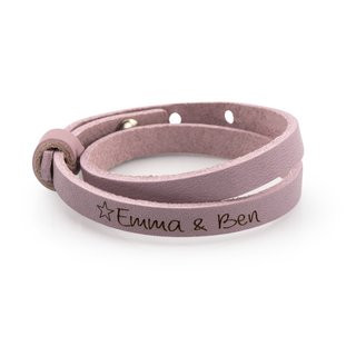 Lederarmband personalisiert rosa Stern