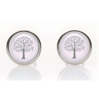 Ohrringe Baum grau-rosa