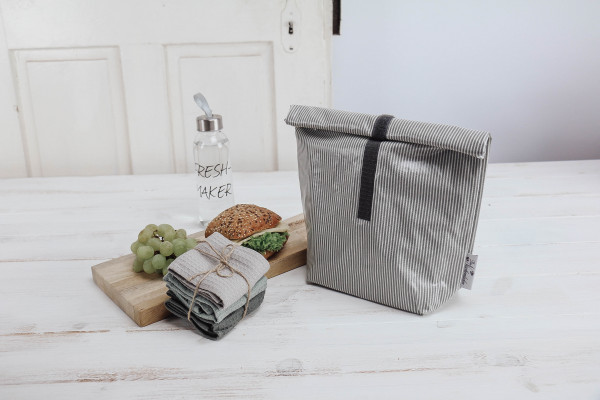 Lunchbag Streifen grau