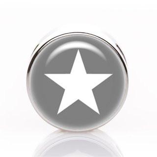 Schiebeperle Stern weiß-grau