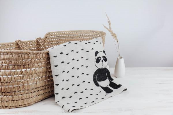 Babydecke Panda schwarz-natur