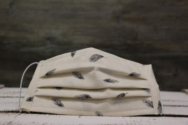 Mund-und Nasenmaske Federn beige-grau