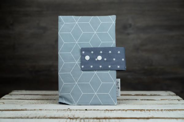 Windeltasche geometrisch blau (mit Öffnung)