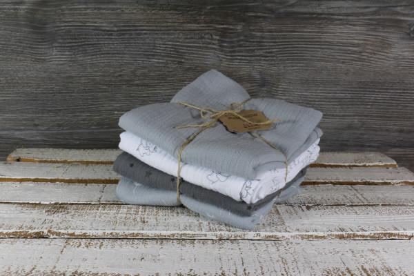 Musselintücher grau