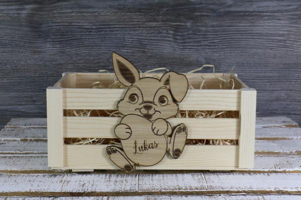 Osterkörbchen mit personalisierten Hasen