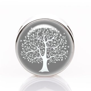 Schiebeperle Baum grau