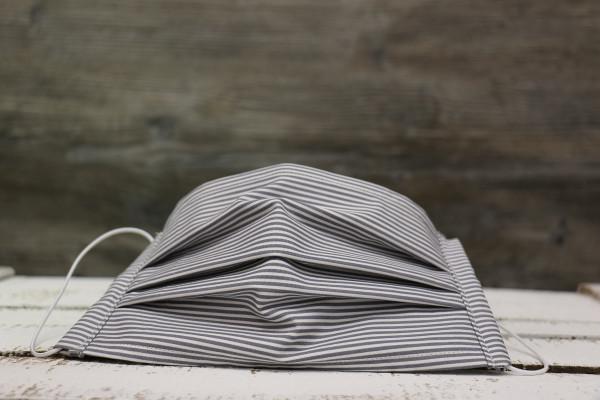 Mund- und Nasenmaske Stripes grau-weiß